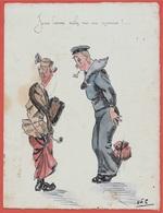 """En L'état Dessin Humour Caricature D'Amateur """"Jeune Homme Voulez-vous Une Marraine?"""" ** Marin Militaire De Guerre - Autres Collections"""