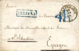 """D.P. 11. 1859. Sobre Circulado De Villastellone(Italia) A San Sebastián. Marca Lineal Recuadrada En Azul """"CERDEÑA"""", De I - ...-1850 Prefilatelia"""