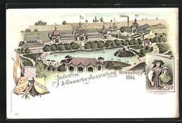 Lithographie Strassburg, Industrie- & Gewerbe-Ausstellung 1895, Ausstellungsgelände - Ausstellungen