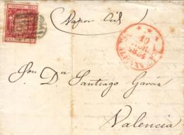 """Ø 24 En Carta De Cartagena A Valencia, El 10 ABR 1854. Manuscrito """"Vapor Cid"""". - 1850-68 Reino: Isabel II"""