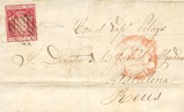 """Ø 24 En Carta De Cartagena A Barcelona/Reus, El 24 JUL 1854. Manuscrito """"Vapor Pelayo"""". - 1850-68 Royaume: Isabelle II"""