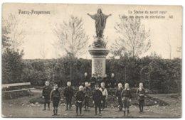 Passy-Froyennes - La Statue Du Sacré Coeur Vue Des Cours De Récréation - Tournai