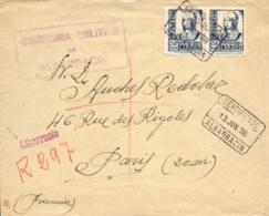 Guerra Civil. Carta Certificada De Albarracín A París, El 13/6/38. Marca De Censura. Rara. - 1931-50 Cartas