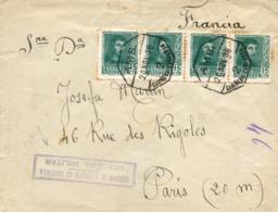 """Guerra Civil. Carta De Puebla De Valverde (Teruel) A París, El 20/11/38. Marca De Censura """"Cuerpo De Ejército De Castill - 1931-50 Cartas"""
