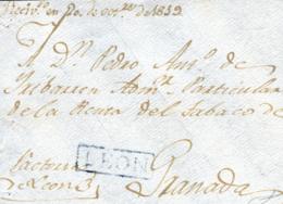 NICARAGUA. 1819. Frontal De León A Granada. Marca En Azul  P.E. 2. Rara. - Nicaragua