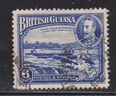 BRITISH GUIANA Scott # 214 Used - KGV & Logs Going Over Waterfalls - British Guiana (...-1966)