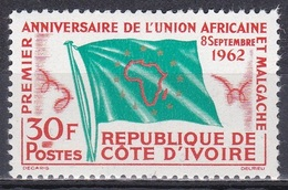 Elfenbeinküste Ivory Coast Cote D'Ivoire 1962 Organisationen Zusammenarbeit Cooperation Fahnen Flaggen Flags, Mi. 243 ** - Côte D'Ivoire (1960-...)