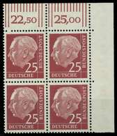 BRD DS HEUSS 1 Nr 186y Postfrisch VIERERBLOCK ECKE-ORE X78D656 - BRD