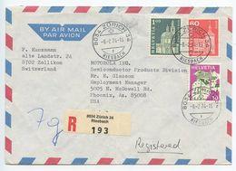Switzerland 1974 Registered Airmail Cover Riesbach, Zürich To Phoenix, Arizona - Switzerland