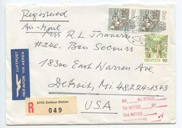 Switzerland 1993 Registered Airmail Cover Zollikon Station, Zürich To Detroit, Michigan - Switzerland