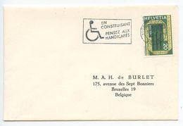 Switzerland 1976 Cover Fribourg To Bruxelles, Belgium W/ Handicapped Slogan Cancel - Switzerland