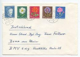 Switzerland 1963 Cover Sargans To Bonn Germany, Scott B329-B333 Boy & Flowers - Switzerland