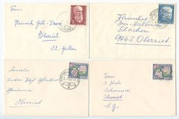 Switzerland 1959-65 4 Small Domestic Covers Oberriet, Montlingen And Basel - Switzerland