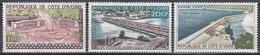 Elfenbeinküste Ivory Coast Cote D'Ivoire 1959 Bauwerke Buildings Brücken Bridges Staudamm Staudämme, Mi. 207-9 ** - Côte D'Ivoire (1960-...)