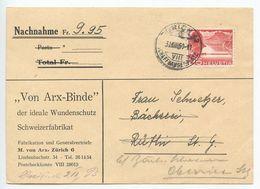 Switzerland 1950 Postcard - Nachnahme Zürich To Rüthi, Forwarded To Oberriet - Cartas