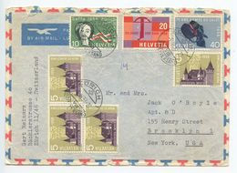 Switzerland 1958 Airmail Cover Zürich To Brooklyn New York, Scott 365-368 - Switzerland