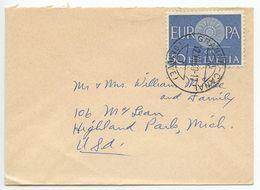 Switzerland 1960 Cover Grange-Canal Geneve To Highland Park Michigan, Scott 401 Europa - Switzerland