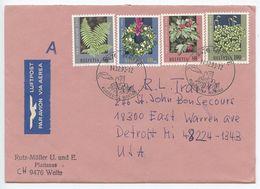 Switzerland 1993 Airmail Cover Weite To Detroit Michigan, Scott B591-B594 Plants - Switzerland