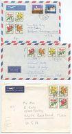 Switzerland 1977 3 Airmail Covers To U.S., Scott B451-B454 Roses - Switzerland