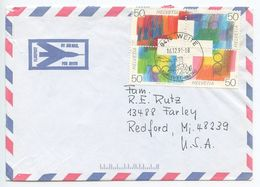 Switzerland 1991 Airmail Cover Weite To Redford Michigan, Scott 887a Swiss Confederation - Switzerland