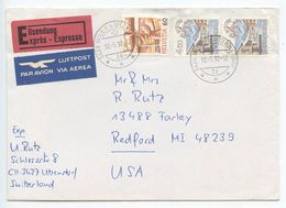 Switzerland 1992 Airmail Special Delivery Cover Wiler B. Utzenstorf  To Redford, Michigan - Switzerland