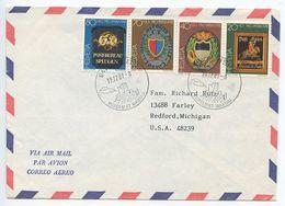 Switzerland 1981 Airmail Cover Weite To Redford Michigan, Scott B480-B483 Post Office Signs - Switzerland