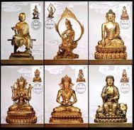 CHINA 2013-14 Gold Gilded Bronze Buddhish Statues MC-100 Maximum Card - 1949 - ... République Populaire