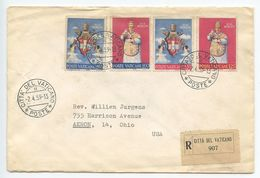 Vatican 1959 Registered Cover / FDC Scott 250-253 Coronation Of Pope John XXIII - Vatican