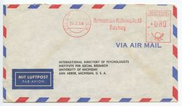 Germany, West 1956 Airmail Cover Duisburg-Huckingen To Ann Arbor Michigan, Meter - [7] Federal Republic