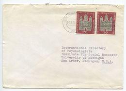 Germany, West 1956 Cover Braunschweig To Ann Arbor MI, Scott 747 Maria Laach Abbey - [7] Federal Republic