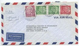 Germany, West 1956 Airmail Cover Drage, Winsen To U.S., Scott 708 X 2, 710, 713 - [7] Federal Republic