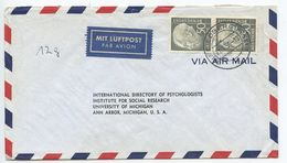 Germany, West 1956 Airmail Cover Friedberg To U.S., Scott 714 Heuss, Pair - [7] Federal Republic