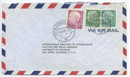 Germany, West 1956 Airmail Cover Marburg To U.S., Scott 706, 708, 713 Heuss - [7] Federal Republic