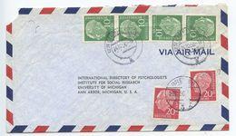 Germany, West 1956 Airmail Cover Cloppenburg & Bremen, Scott 708  X 4, 710 X 2 Heuss - [7] Federal Republic