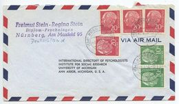 Germany, West 1956 Airmail Cover Nürnberg To U.S., Scott 708 X 2, 710 X 4 Heuss - [7] Federal Republic