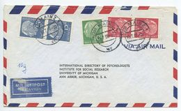 Germany, West 1956 Airmail Cover Mainz To U.S., Scott 708, 709 X 2, 710 X 2 Heuss - [7] Federal Republic