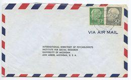 Germany, West 1956 Airmail Cover Stuttgart To U.S., Scott 708 & 714 Heuss - [7] Federal Republic