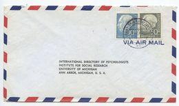 Germany, West 1956 Airmail Cover Hamburg To U.S., Scott 712 & 714 Heuss - [7] Federal Republic
