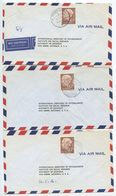 Germany, West 1956 5 Airmail Covers To U.S., Scott 715 Heuss, Mix Of Postmarks - [7] Federal Republic