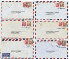 Germany, West 1956 6 Airmail Covers To U.S., Scott 710 & 715 Heuss, Mix Of Postmarks - [7] Federal Republic