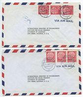 Germany, West 1956 2 Airmail Covers Dortmund & Nürnberg To U.S., Scott 710 X 3 Heuss - [7] Federal Republic