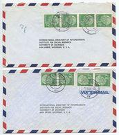 Germany, West 1956 2 Airmail Covers Hamburg & Bensberg To U.S., Scott 708 X 4 Heuss - [7] Federal Republic