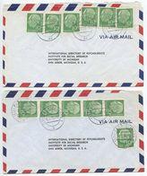 Germany, West 1956 2 Airmail Covers Bad Godesberg & Stuttgart To U.S., Scott 708 X 6 Heuss - [7] Federal Republic