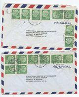 Germany, West 1956 2 Airmail Covers Hamburg & Freiburg To U.S., Scott 708 X 8 Heuss - [7] Federal Republic