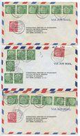 Germany, West 1956 3 Airmail Covers Hamburg-Flughafen & Hannover, Scott 708 X 6, 710 Heuss - [7] Federal Republic
