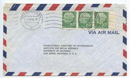 Germany, West 1956 Airmail Cover Munich To U.S., Scott 708 X 3 Heuss - [7] Federal Republic