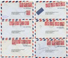 Germany, West 1956-1957 6 Airmail Covers To U.S., Scott 710 X 4 Heuss, Mix Of Postmarks - [7] Federal Republic