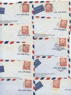 Germany, West 1956 10 Airmail Covers To U.S., Scott 717 Heuss, Mix Of Postmarks - [7] Federal Republic