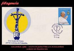 AMERICA. COLOMBIA SPD-FDC. 1986 VISITA DE JUAN PABLO II A COLOMBIA. PRIMERA SERIE - Colombia