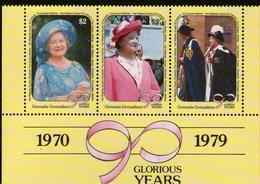 GRENADA GRENADINES, 1990 QUEEN MOTHER STRIP 3 MNH - Grenada (1974-...)